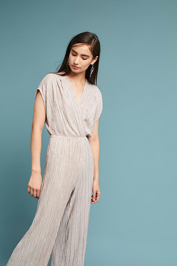 Pleated Metallic Jumpsuit