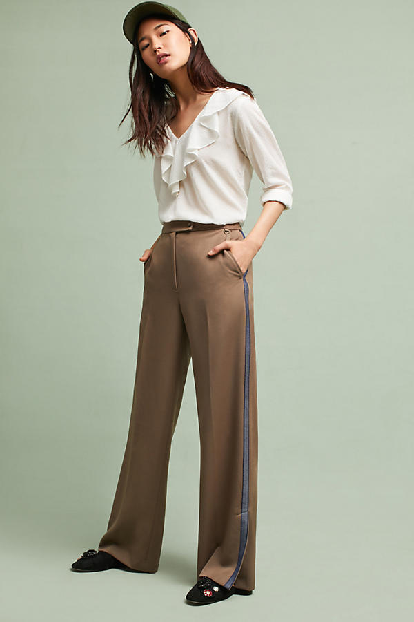 Tracy Reese Side-Striped Trousers