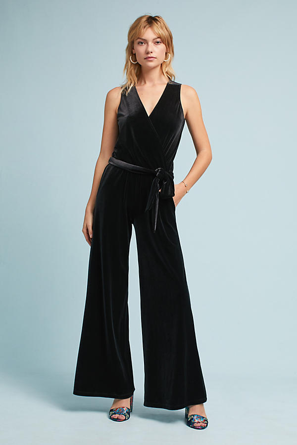 Mila Cross-Front Velvet Jumpsuit
