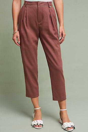 Pinstripe Tapered Ankle Trousers