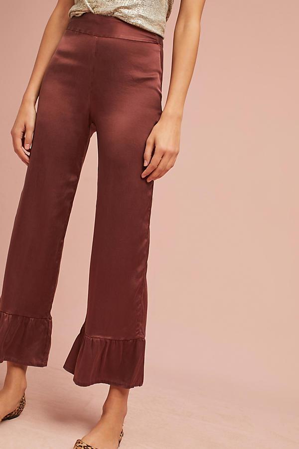 Silk Ruffle-Hem Pants