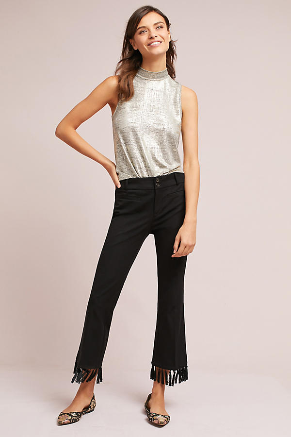 The Essential Tassel-Hem Cropped Flares