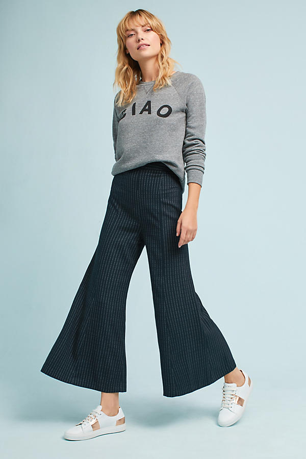 The Essential Pinstriped Wide-Legs