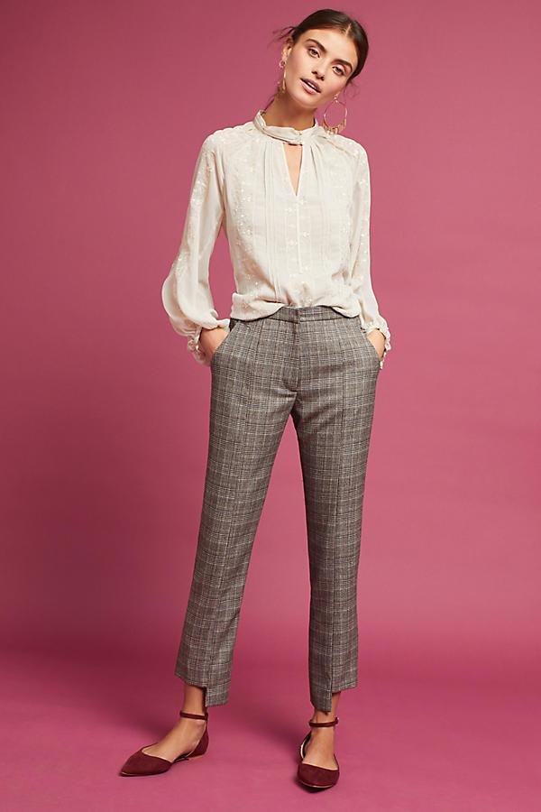 Plaid Asymmetrical-Hem Trousers
