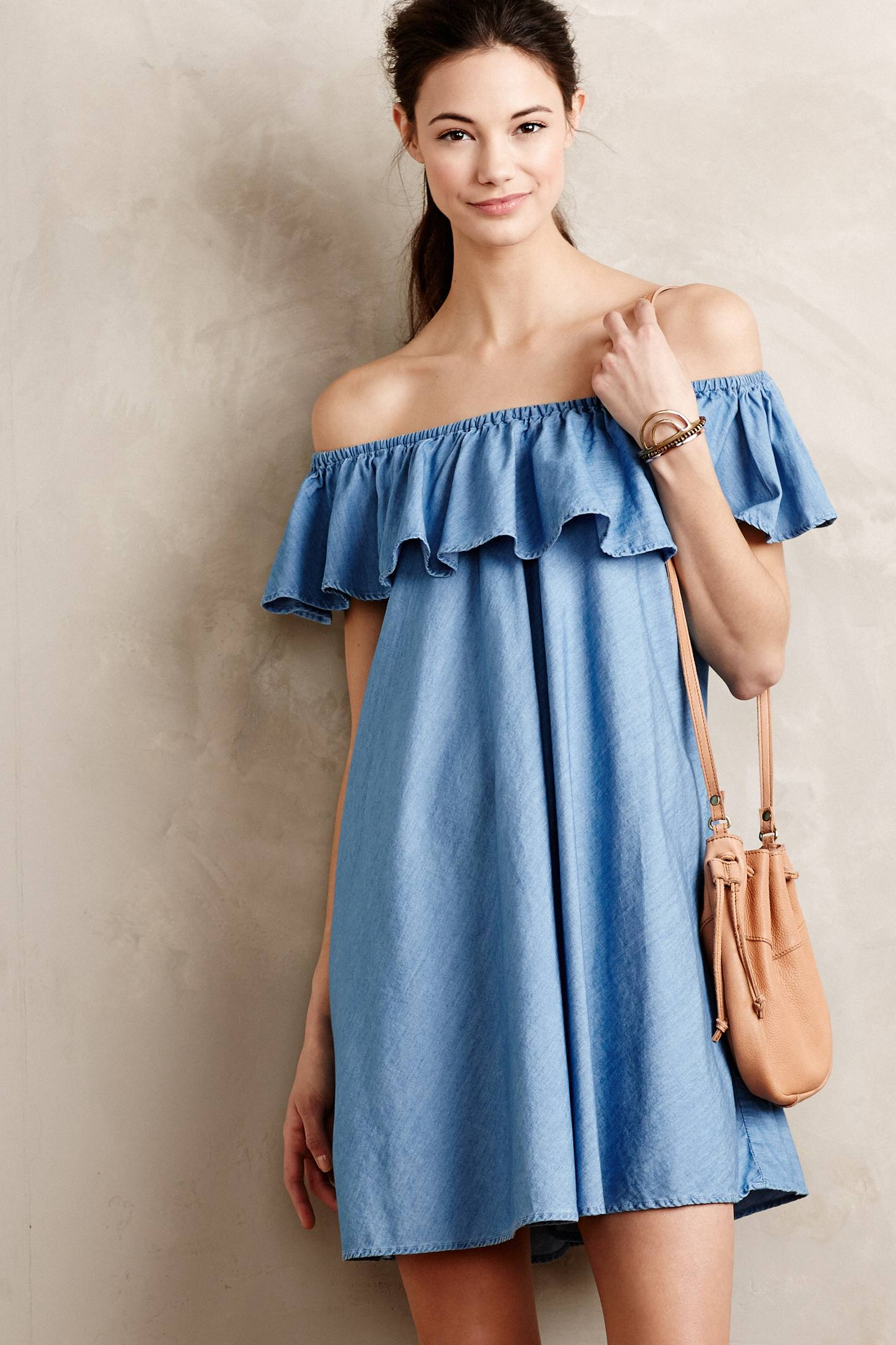 Fine casual trending chambray denim dress for Chambray dress