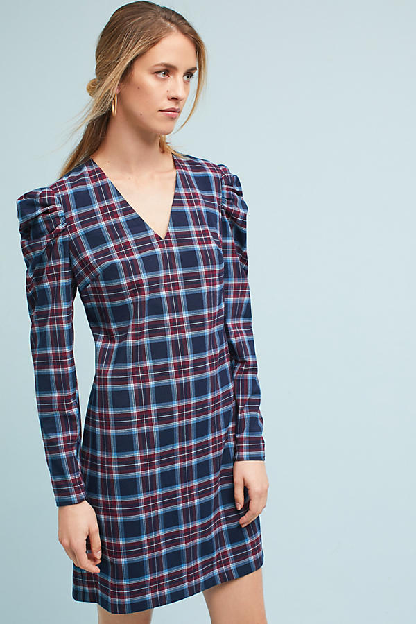 Plaid Ruched-Sleeve Dress