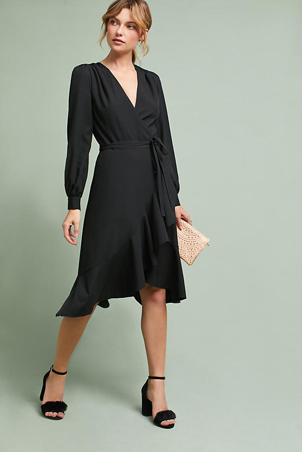 Ruffled V-Neck Wrap Dress