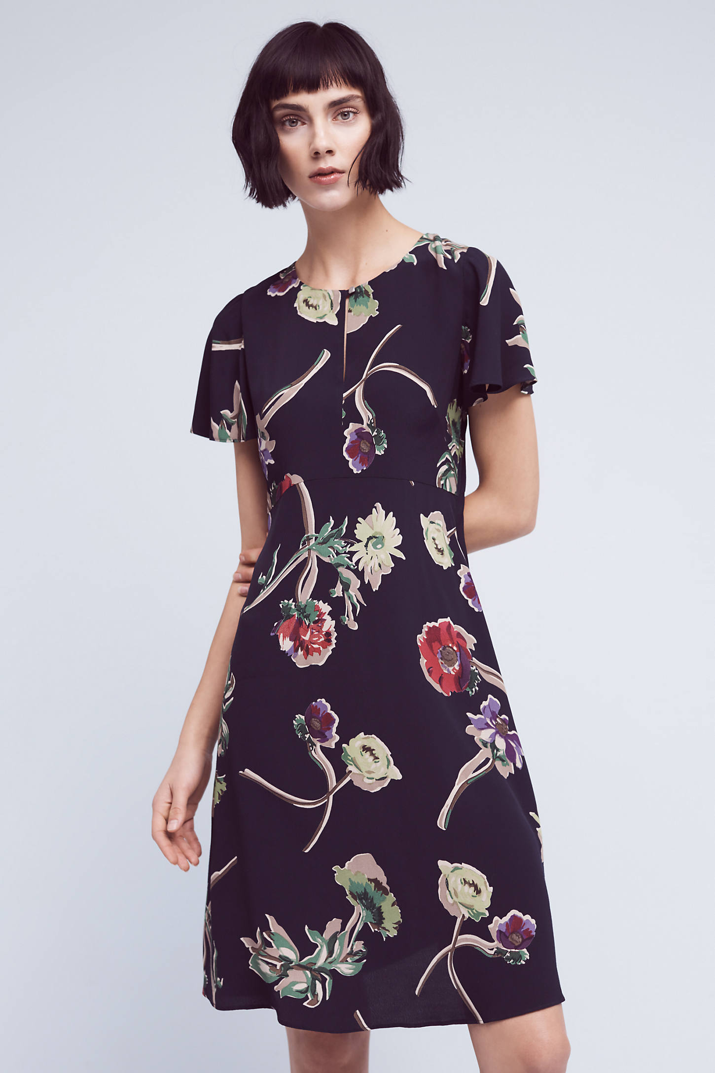 Geoplanes Floral Dress, Navy