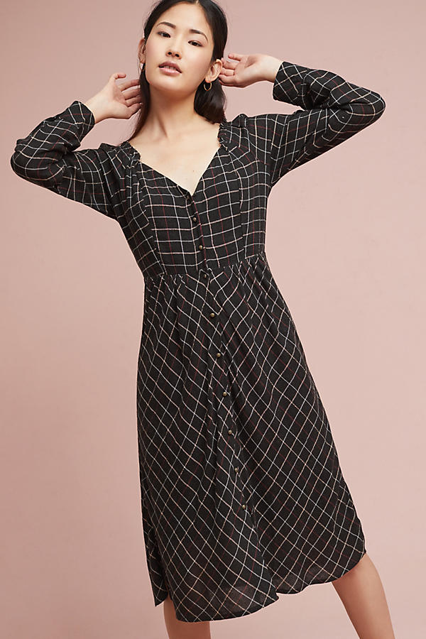 Annie Plaid Midi Dress