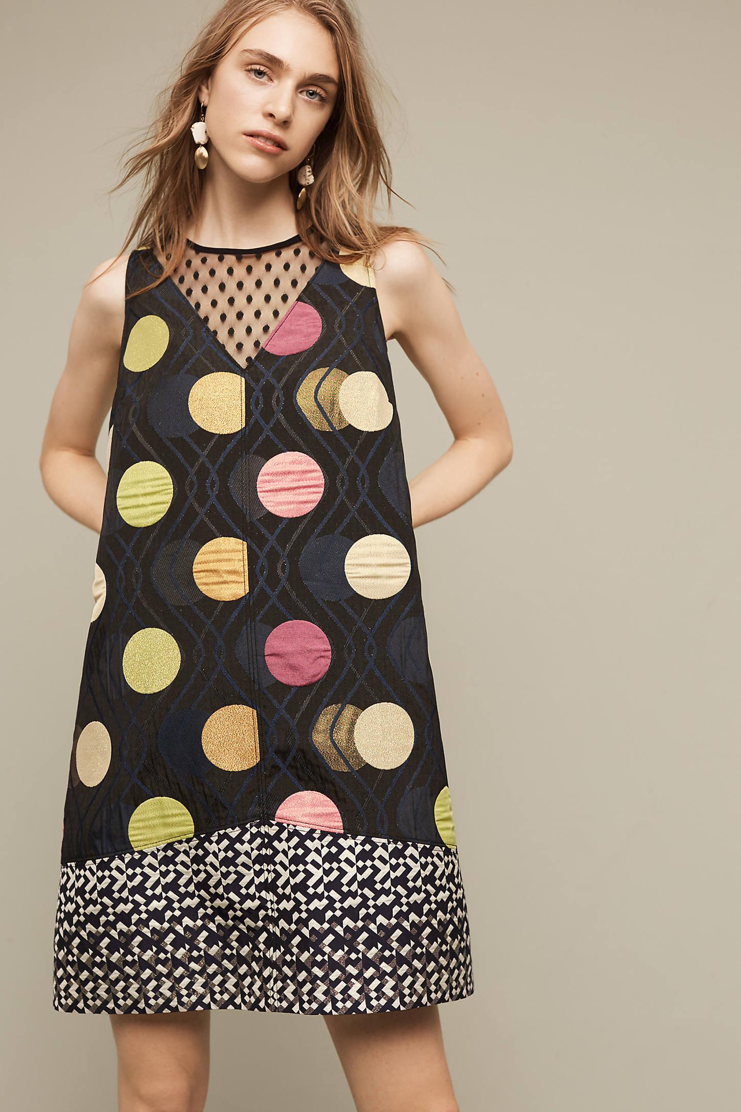 Tilde Printed Shift Dress, Black