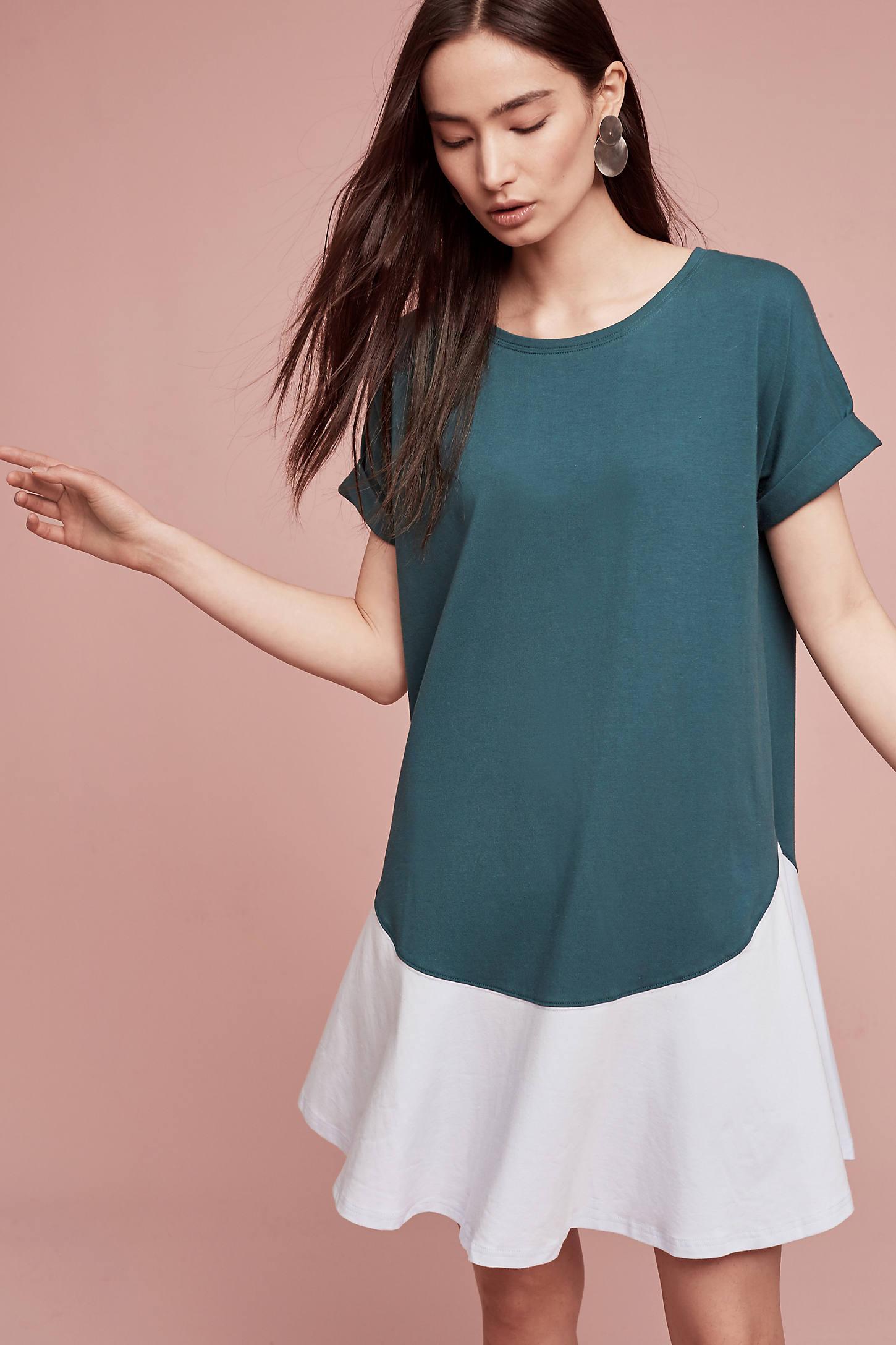 Flounced T-Shirt Dress, Green