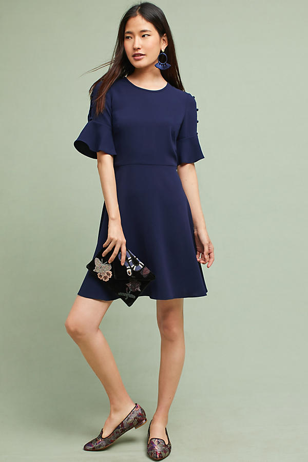 Shoshanna Flutter-Sleeve Dress