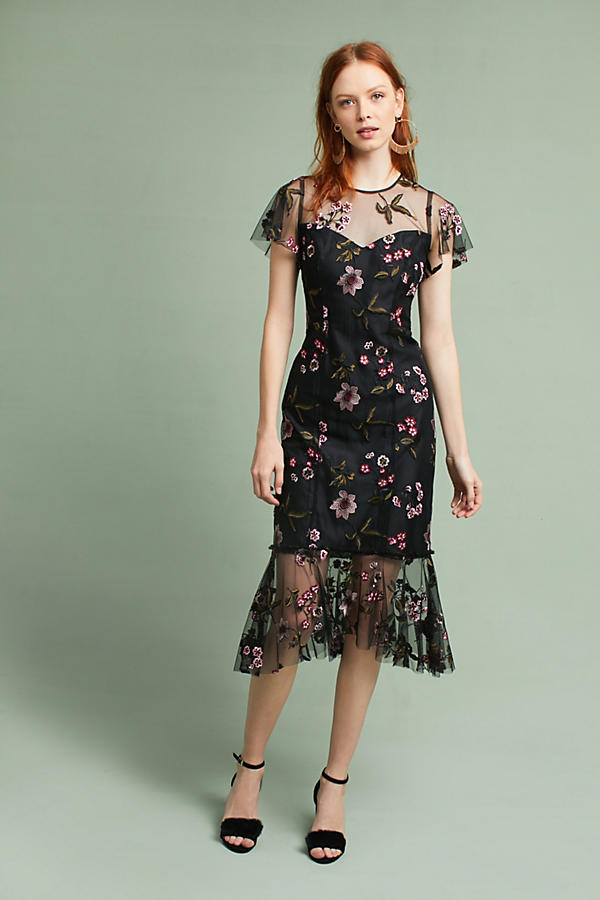 Shoshanna Embroidered Flounced-Hem Dress