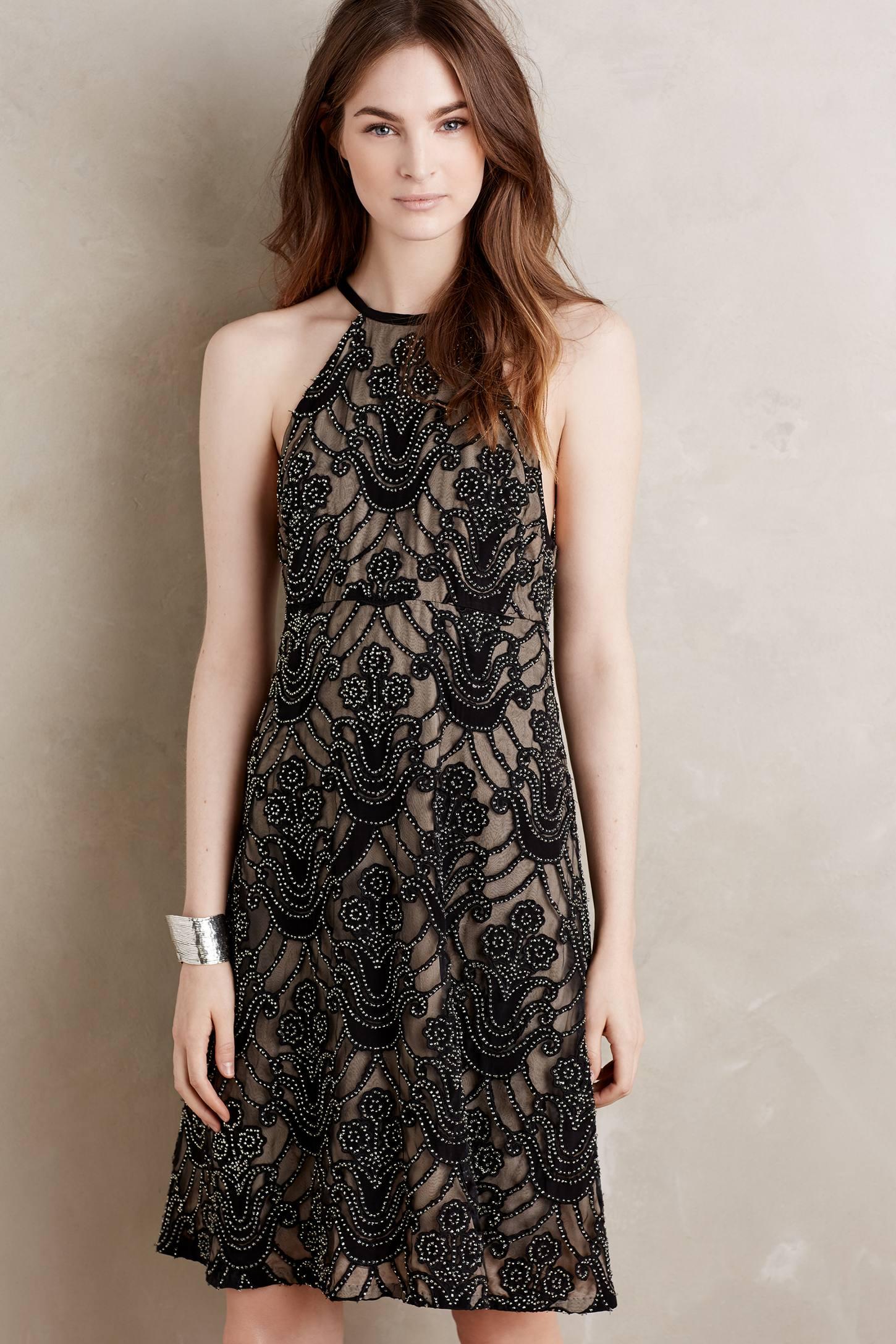 Beaded Silk Halter Dress