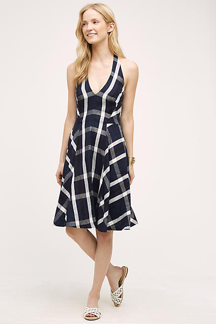 Eva Franco Plaid Halter Womens Dress - Blue Motif