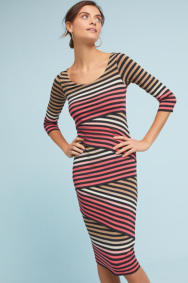 Striped-Knit Column Dress