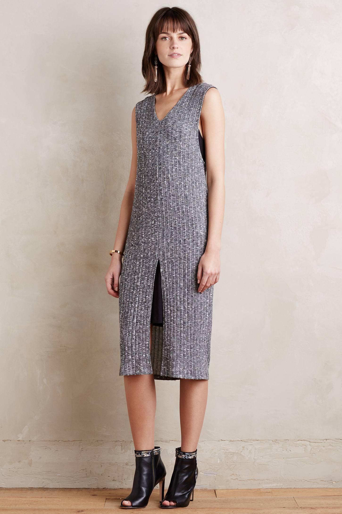 Luna Slit Midi Dress, Grey
