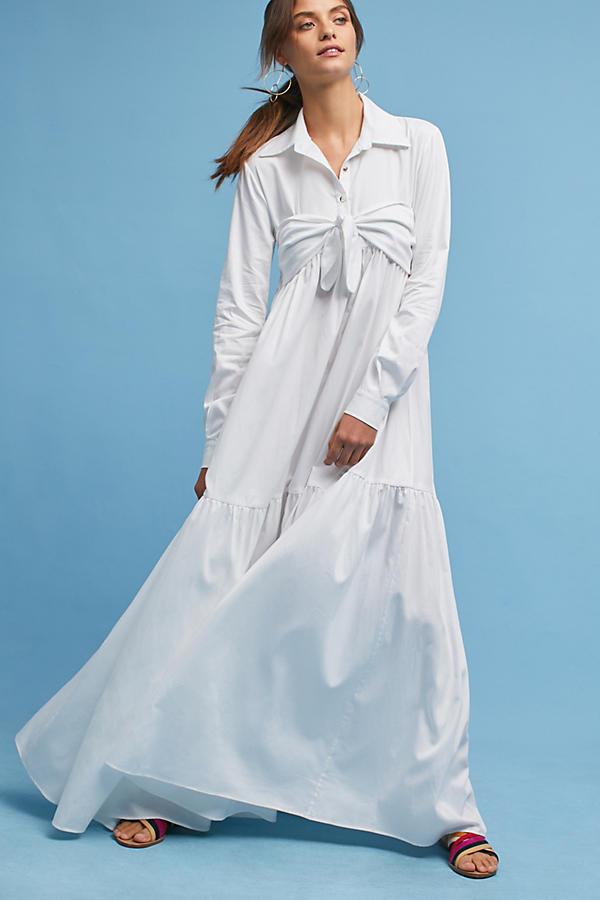 Mara Hoffman Poplin Tie-Front Maxi Shirt Dress