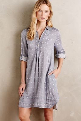 Chambray Dot Shirtdress