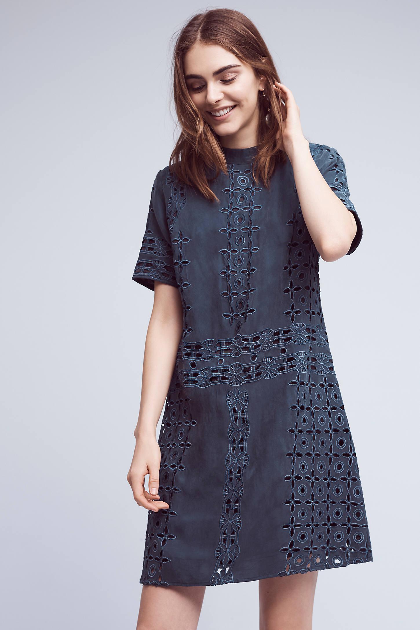 Lizette Cutwork Dress, Blue