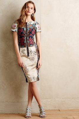 Pieced Brocade Dress
