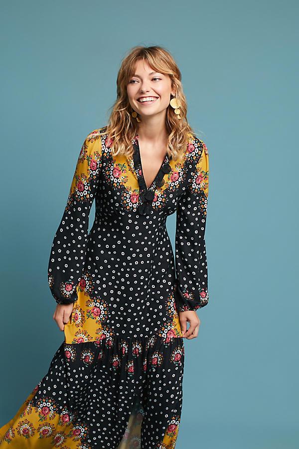 Farm Rio Floral-Blocked Maxi Dress