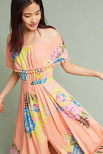 Pom Pom Off-The-Shoulder Maxi Dress