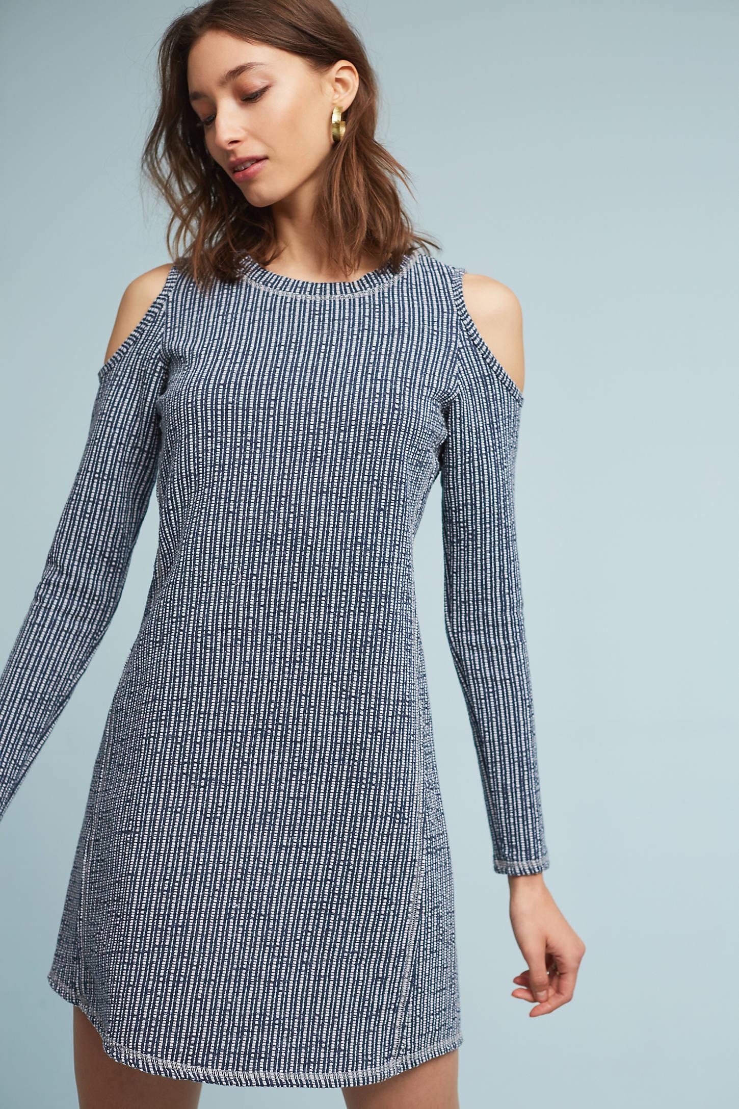 Lisette Textured Open-Shoulder Dress, Blue