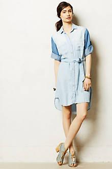 Colorblocked Chambray Shirtdress