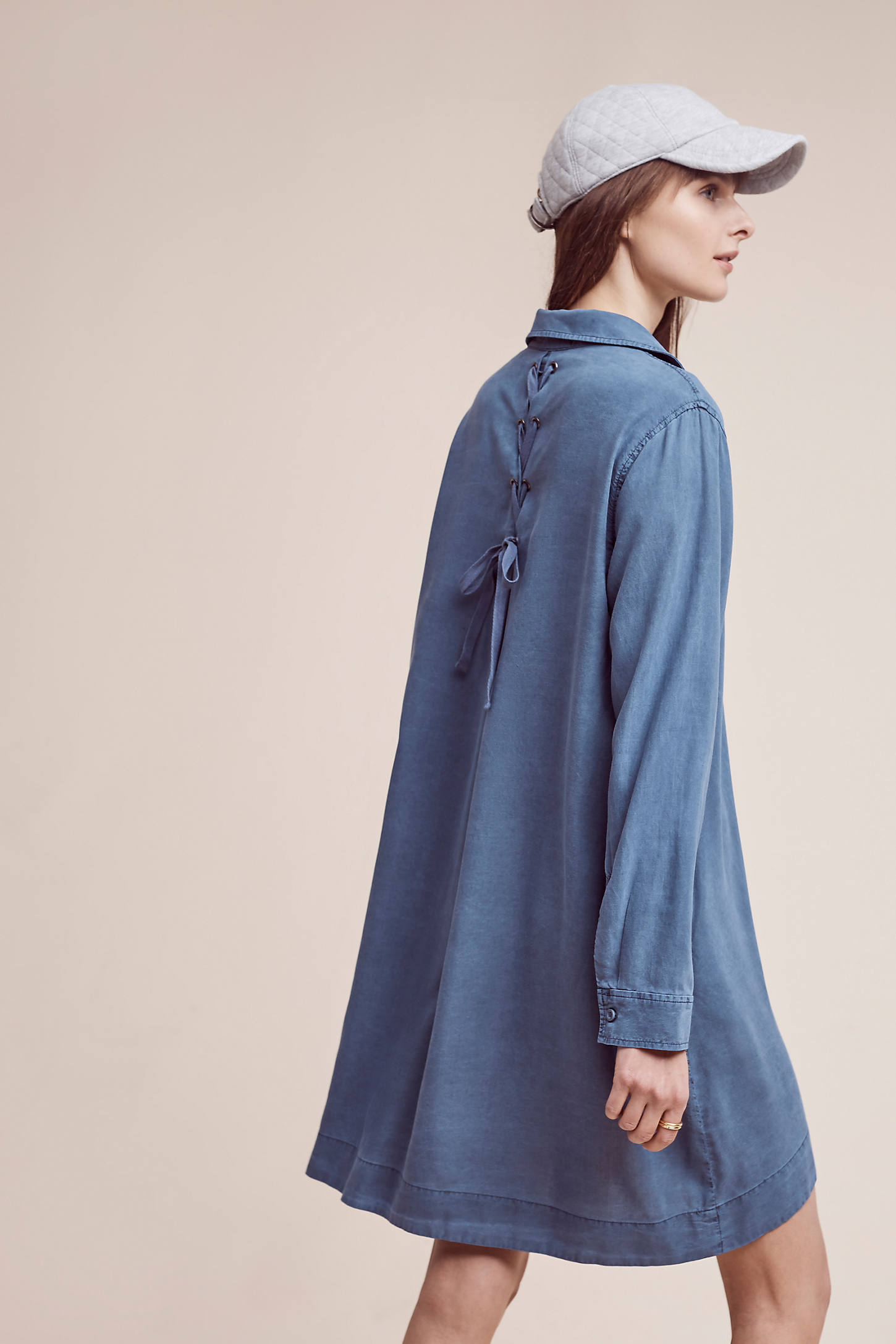 Farryn Laced-Back Shirt Dress, Blue