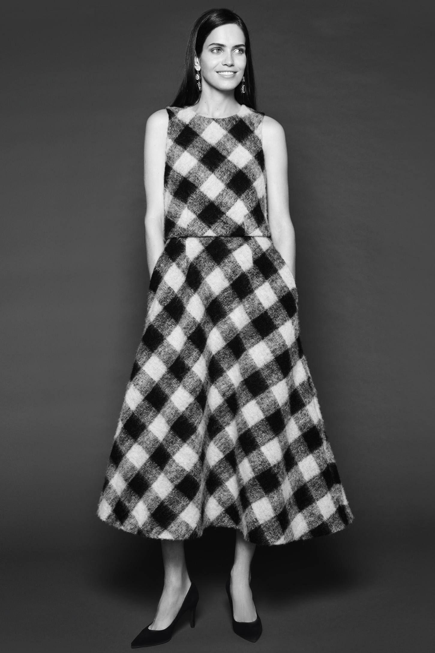 Checkered Wool Midi Dress