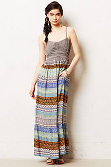 Plaited Print Maxi Dress