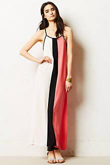 Colorblock Silk Maxi Dress