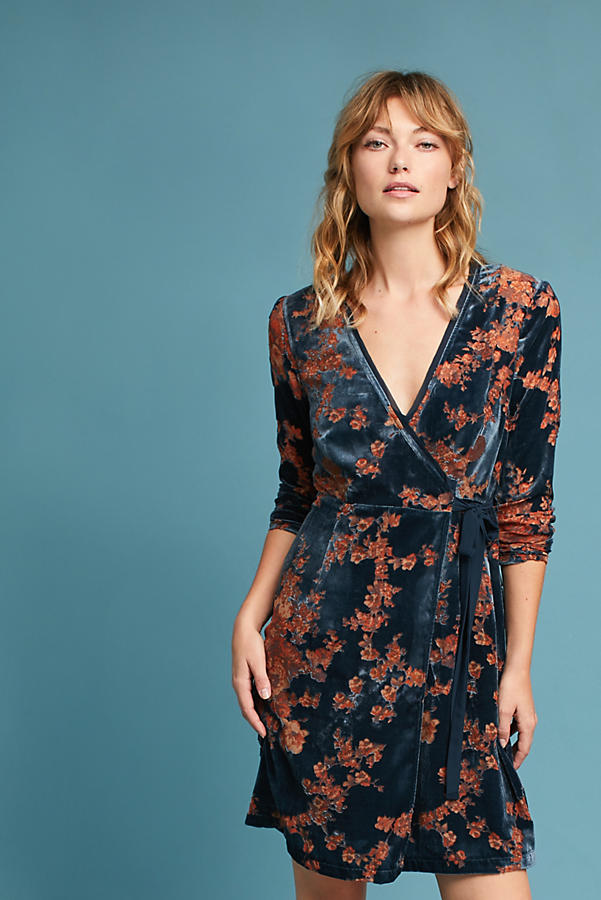 Velvet Burnout Wrap Dress