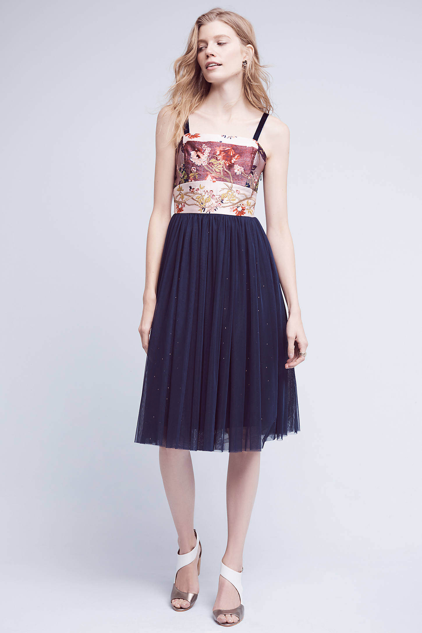 Crowned Crane Tulle Dress, Navy