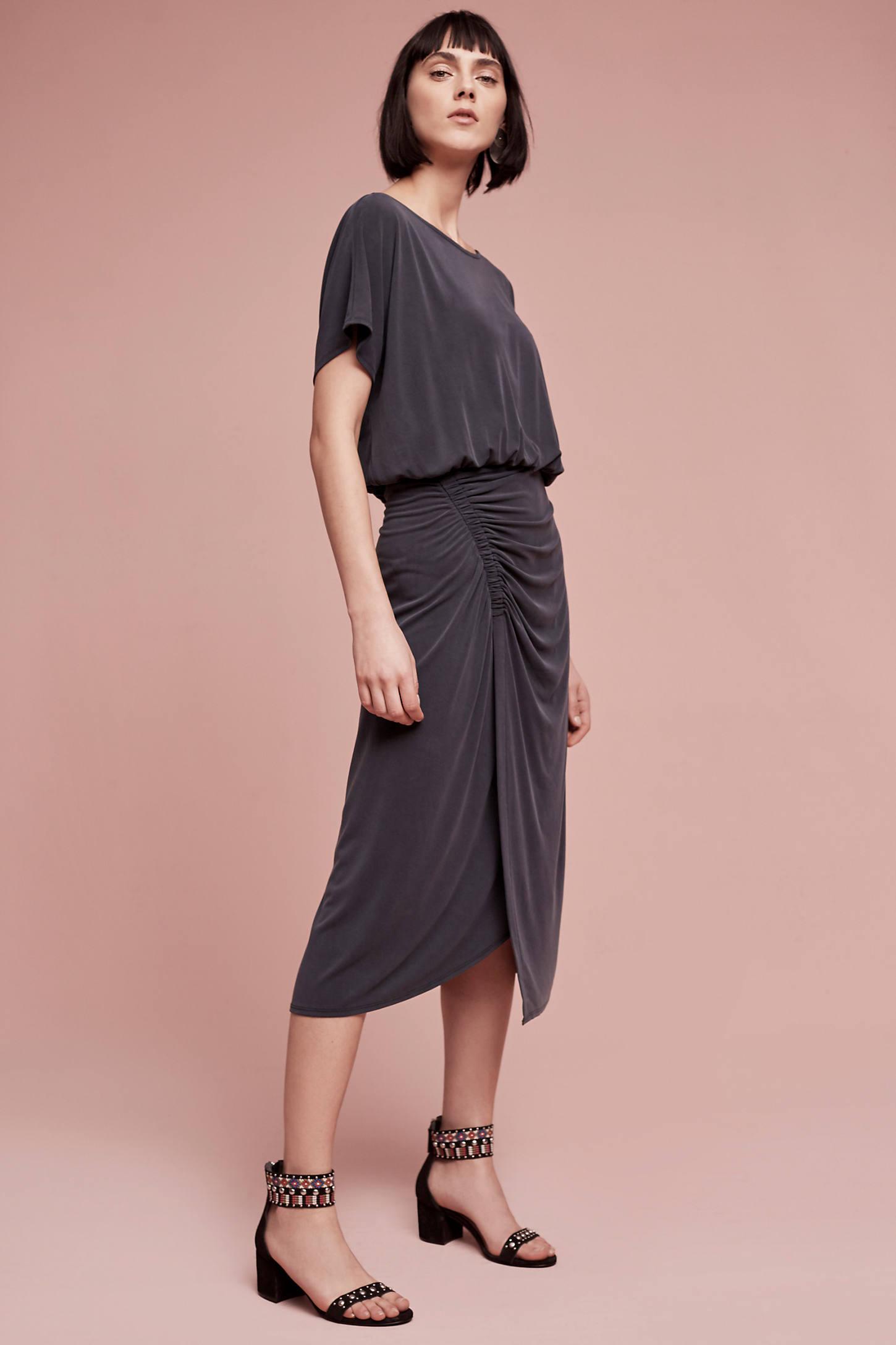 Etta Ruched Midi Dress, Grey