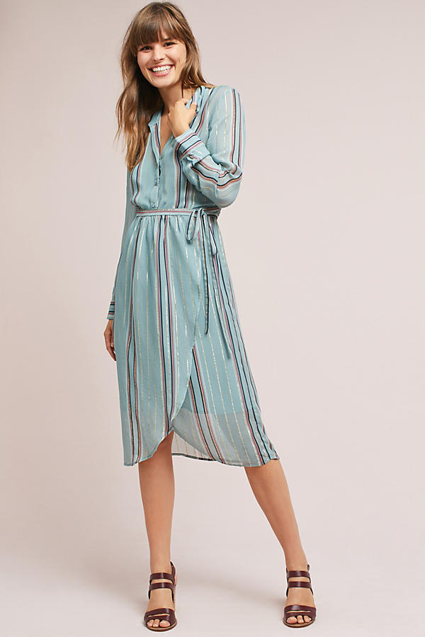 Heather Metallic Wrap Dress