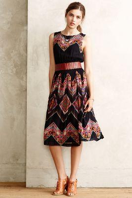 Patchworked Chevron Midi Dress