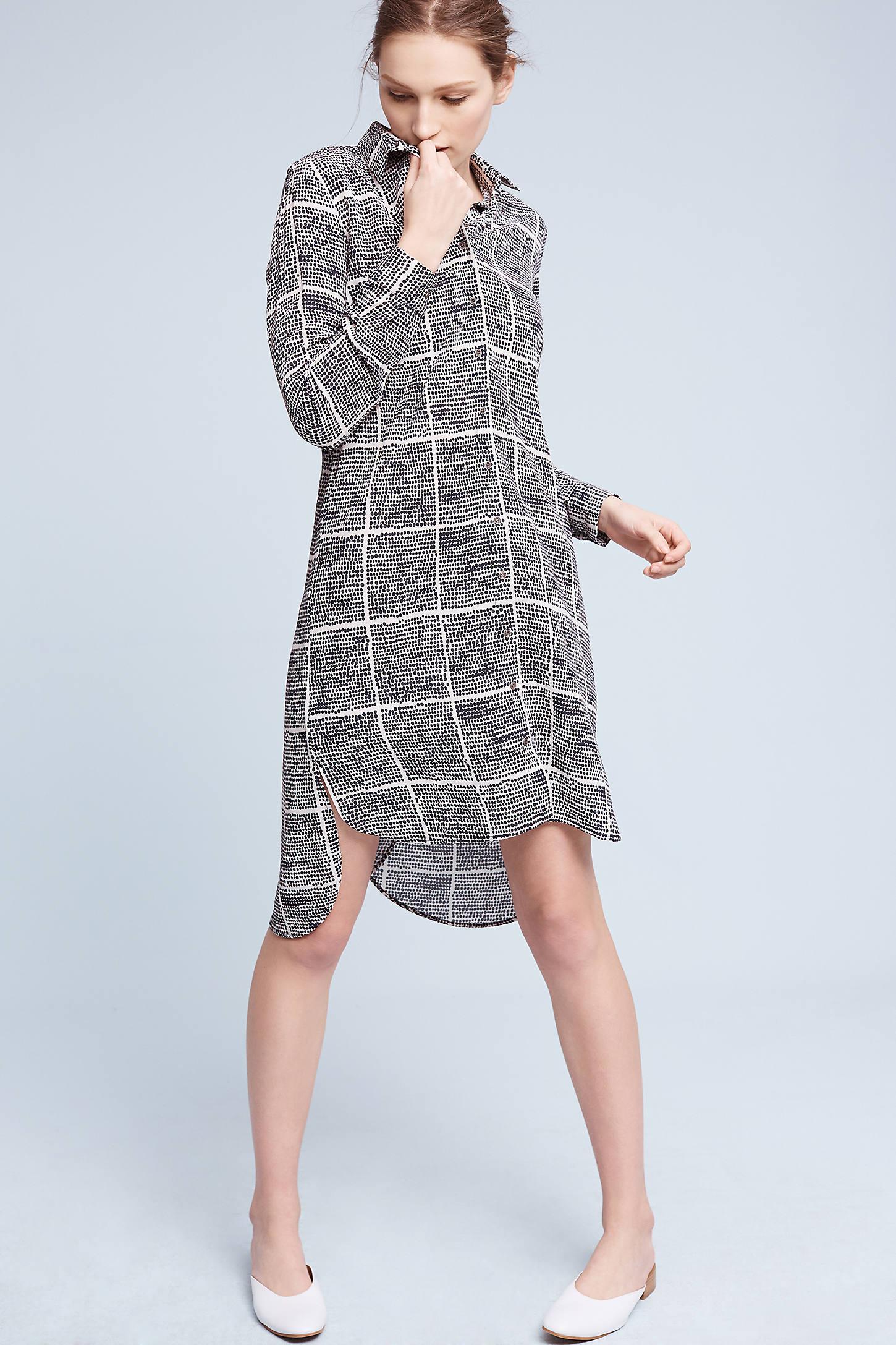 Gridway Crepe Shirt Dress, Black