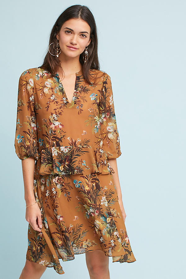 Printed Flutter-Sleeve Shirtdress