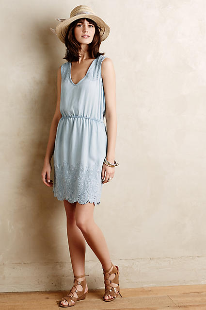 Sale alerts for Anthropologie Embroidered Chambray Dress - Covvet
