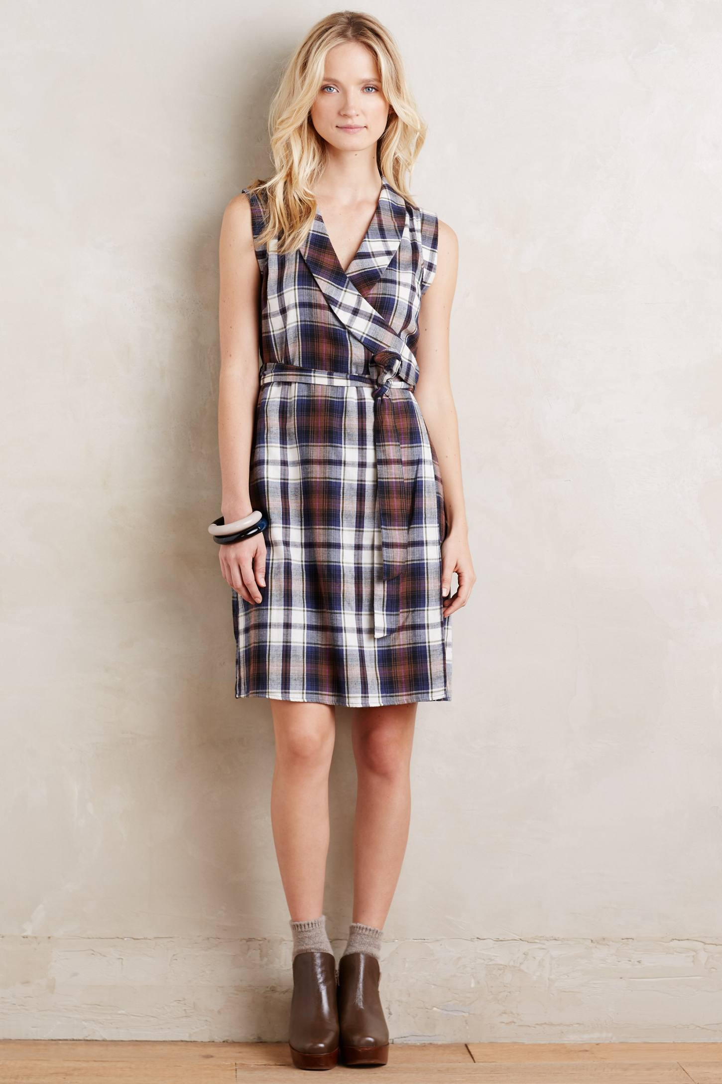 Wrapped Plaid Dress