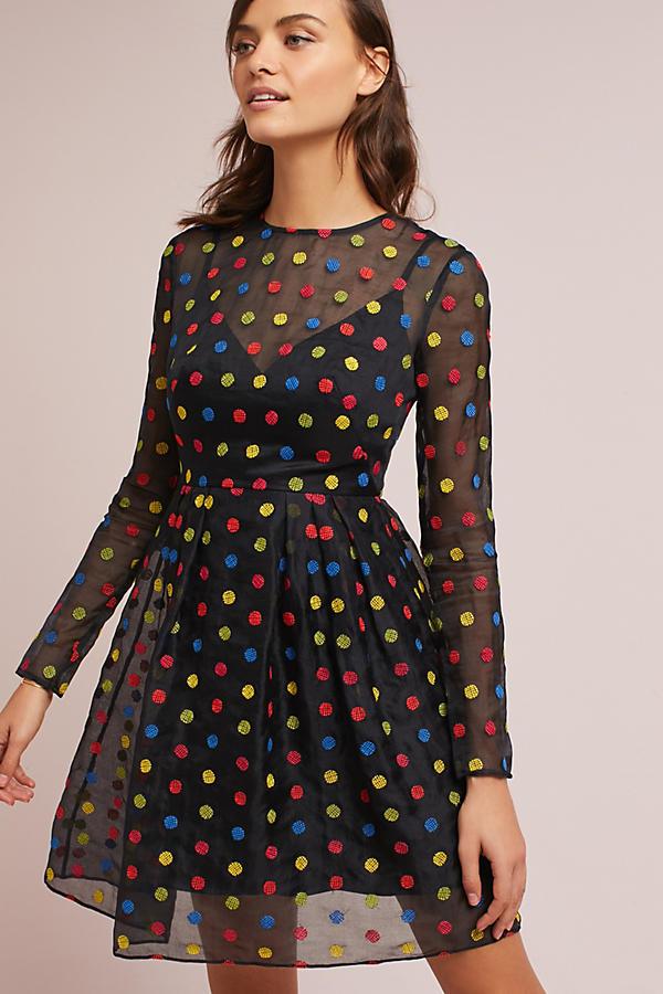 ML Monique Lhuillier Polka Dot Dress
