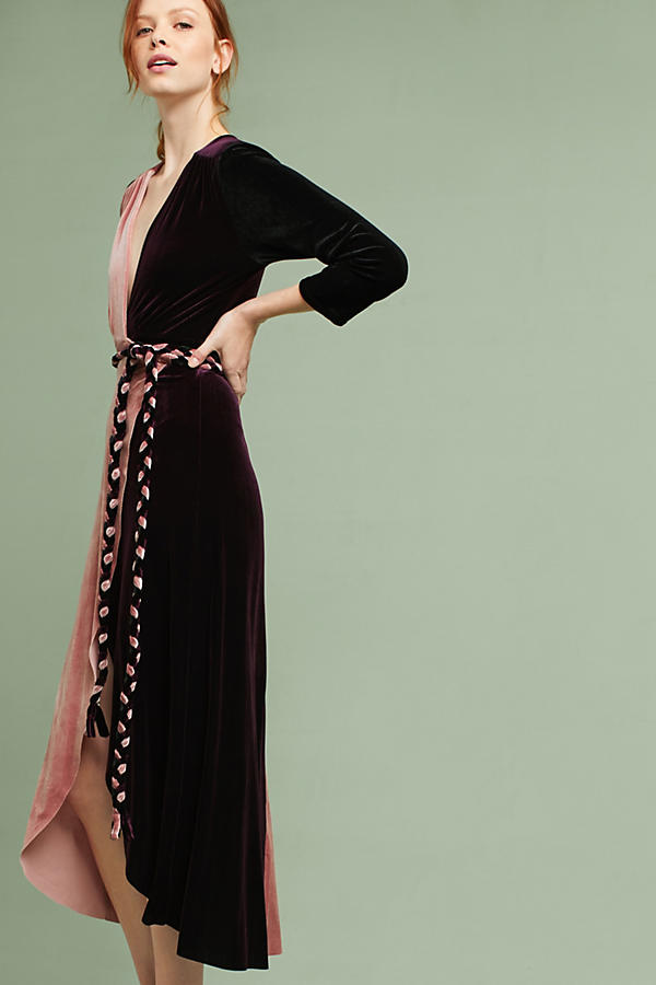 Colorblock Velvet Wrap Maxi Dress