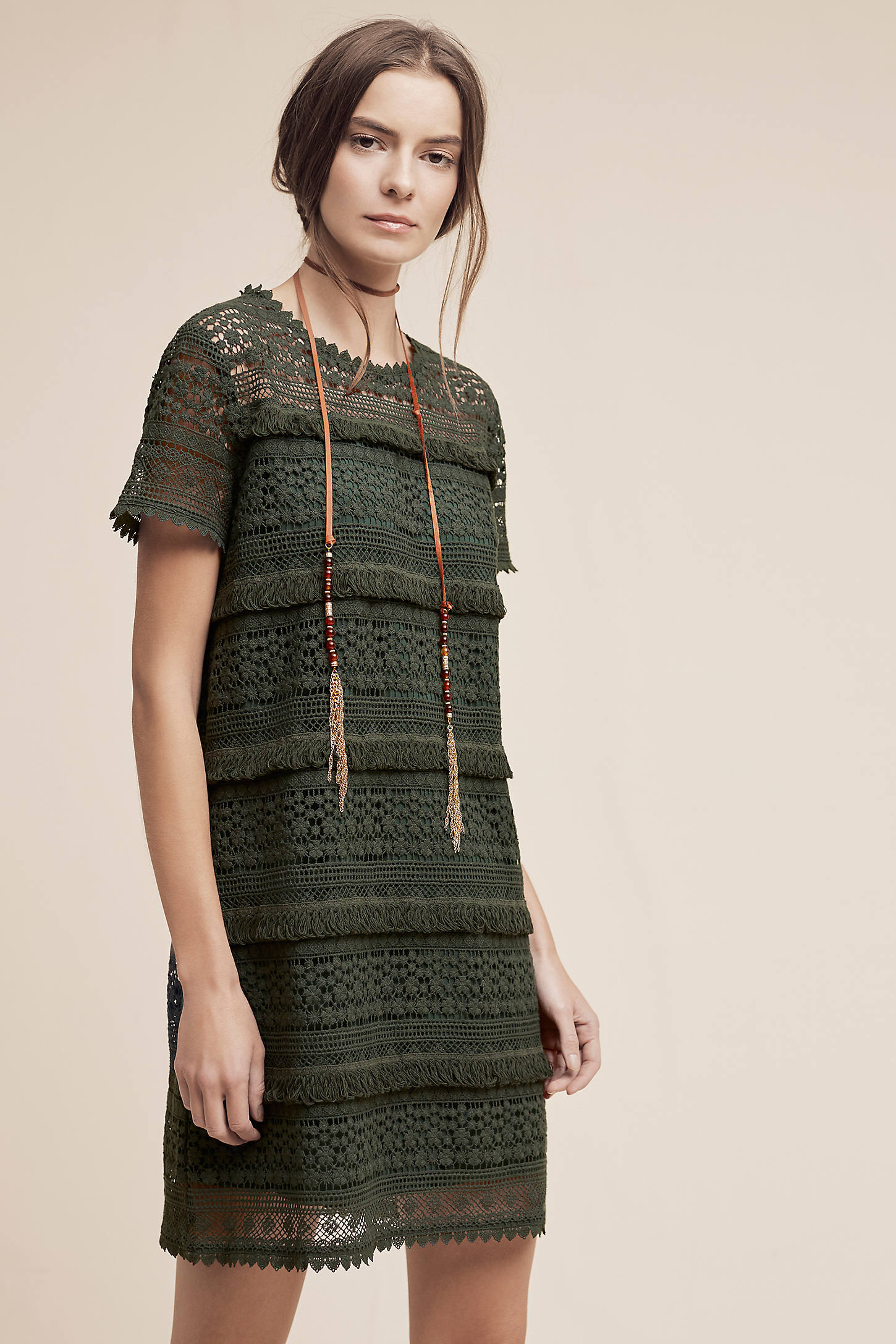 Beatriz Fringed Lace Dress, Green