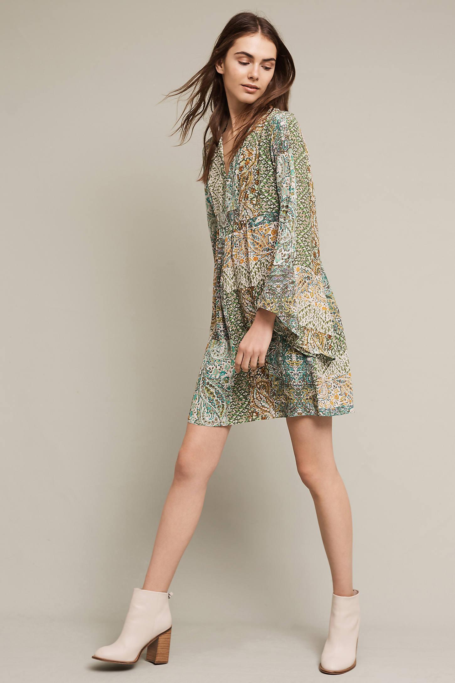 Amelie Silk Kimono Dress, Green