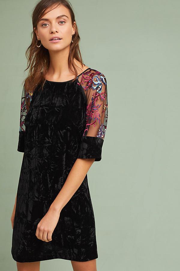 Embroidered Velvet Shift Dress