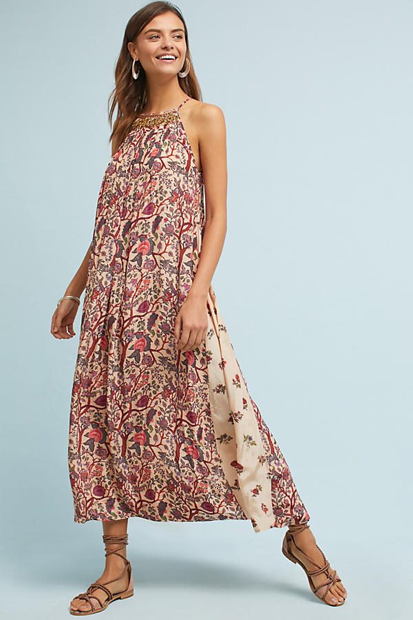 Beaded Halter Maxi Dress