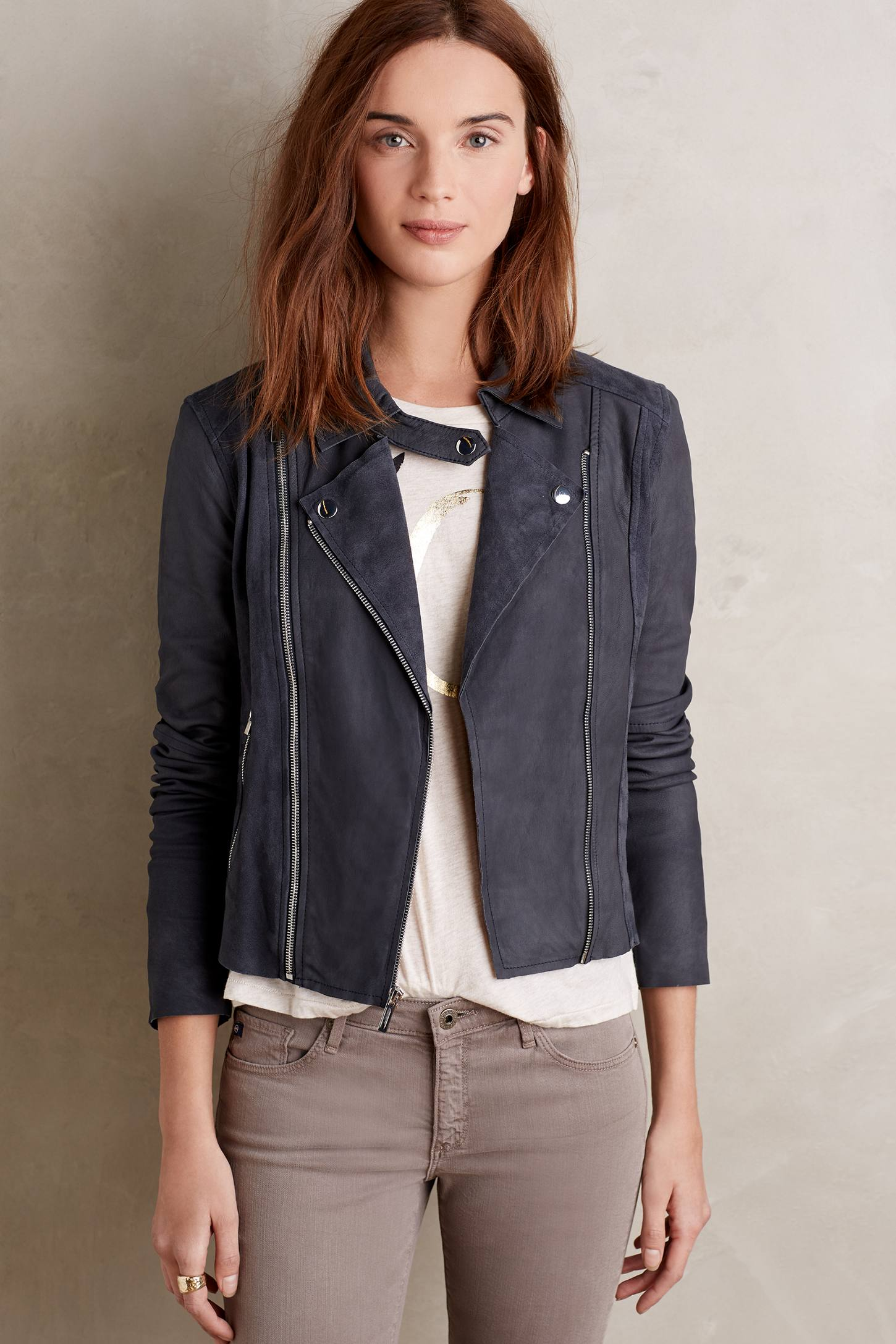 Paige Silvie Suede Moto Jacket