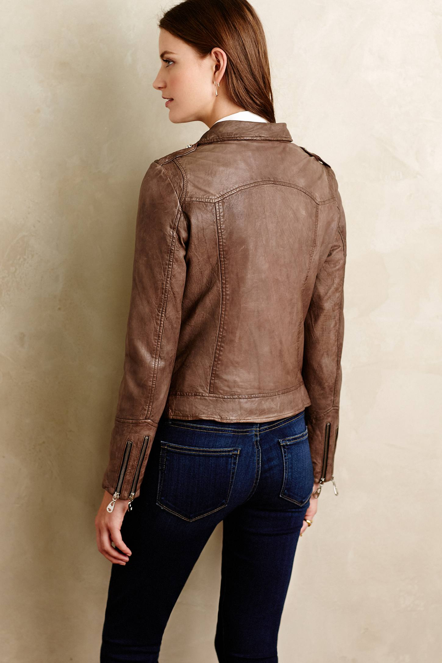 Washed Leather Moto Jacket